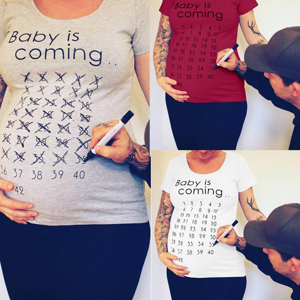Hot Baby Is Coming Soon Pregnant Women T-shirt Calendar Shirt Mother Clothes Female Pregnancy T-shirt Announced T-shirt