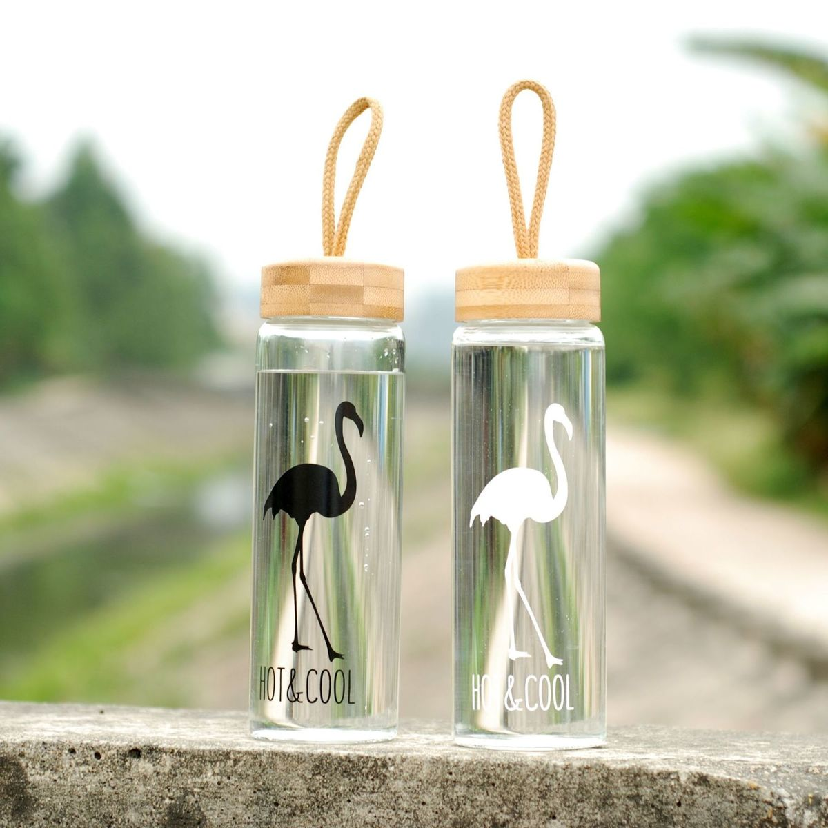 450 Ml Glass Water Bottles With Bamboo Lid Rope Straight Drink Hiking Creative My Bottle Drinkware Clear Brief Portable
