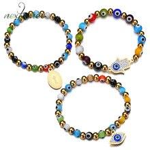 Nextvance – Bracelet extensible pour les yeux turcs bleus en strass, porte-bonheur, Protection des yeux maléfiques, chapelet pour cadeau ethnique unisexe