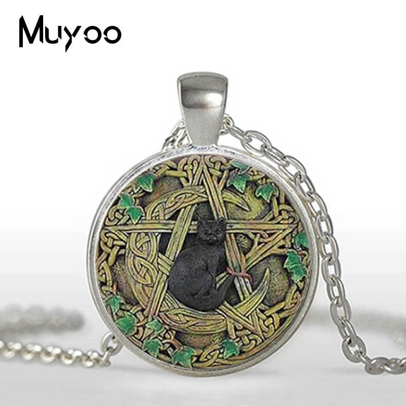 Vintage Glass Dome Pendant Black Wicca Pendant Necklace Magical Pentagram Wiccan Black Cat Jewelry Charm HZ1 1