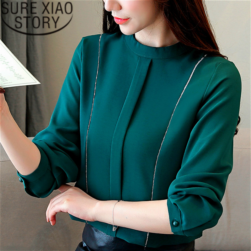 fashion women 2019 new   blouse   chiffon long sleeve women   shirts   stand Solid   blouse     shirt   womens tops   blouses   harajuku 2453 50
