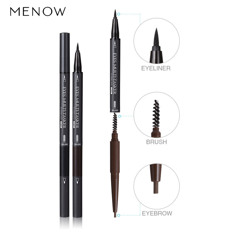 MENOW Brand Double-end Waterproof Eyebrow Pencils Makeup Black Brown Color Pigments Eyebrow Pen with Brush Cosmetic Tools