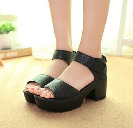 New Summer Women's Plus Size Shoes Sandals Fish Toe high Square High Heels Solid Sandals Women Platform Shoes For Lady BAOK-3524