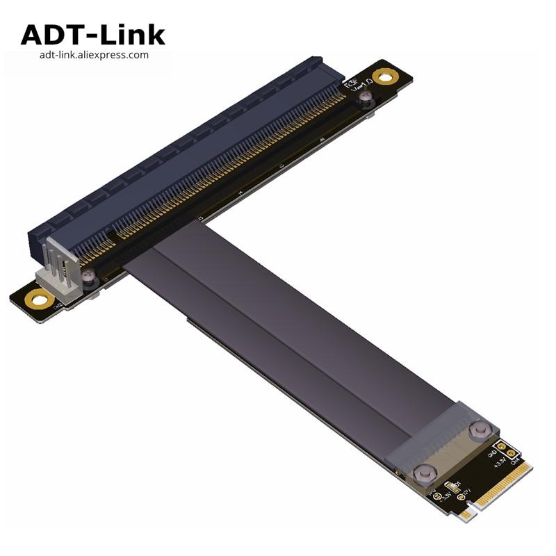 PCI-E Riser gen 3.0 32G/bps M.2 NGFF NVMe à 16X Riser Card PCIe SATA à 4Pin câble d'alimentation pour BTC Bitcoin minière Antminer Miner