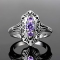 Fashion Purple Amethyst Classic Created Tanzanite Rings for Women Cushion Pure 925 Sterling Silver Jewelry for Anniversary Gift