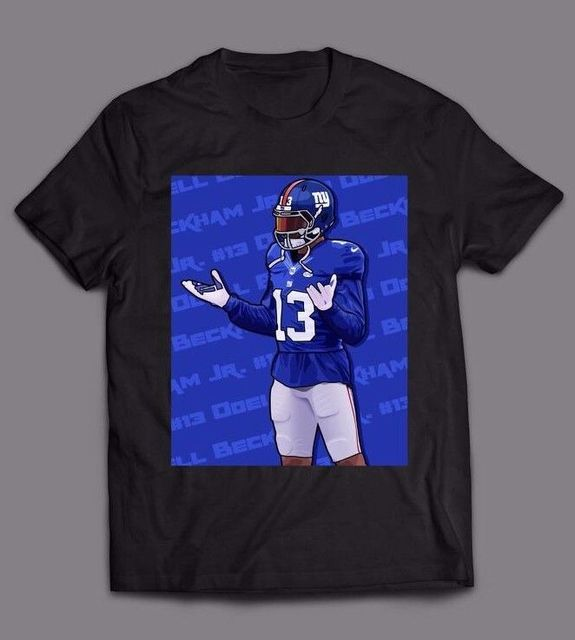 cheaper a3aa0 ff9a2 US $11.89 15% OFF|ODELL BECKHAM JR NY GIANTS #13 *OLDSKOOL CUSTOM ARTWORK  LOGO* Shirt *FULL FRONT*-in T-Shirts from Men's Clothing on Aliexpress.com  | ...