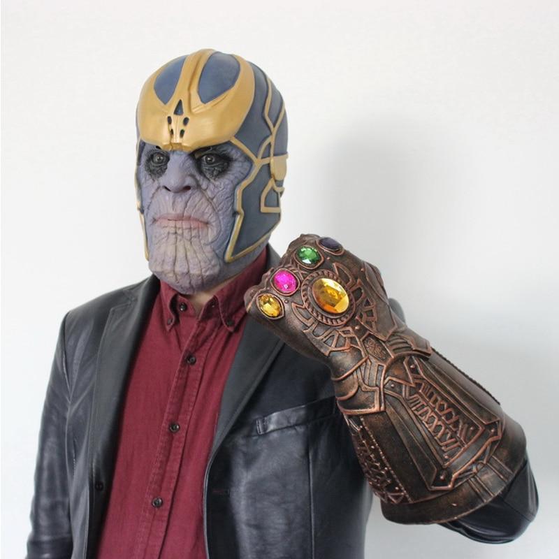 Infinity Gauntlet Cosplay Avengers Endgame Infinity War Gloves Thanos Mask Infinity Gauntlet With LED Adult Man Halloween Party