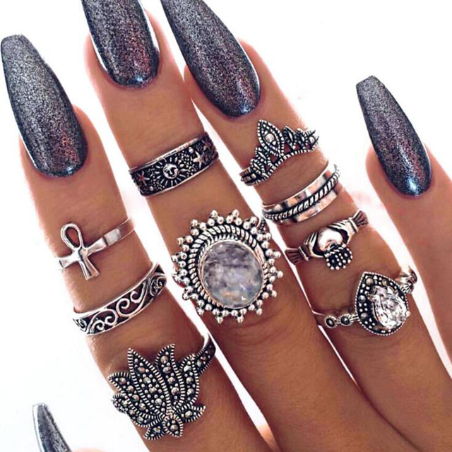 HuaTang Bohemian Antique Silver Ring Geometric Elephant Flower Green Rhinestone Knuckle Rings Midi Finger Anel Rings Jewelry 70