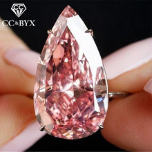 CC Роскошные ювелирные кольца для женщин розовый кубический цирконий большой камень гипербола кольцо для помолвки кольцо Прямая CC2153