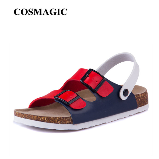 dd24a51887d5 COSMAGIC Fashion Double Buckle Cork Sandals Flat with 2018 New Women Summer  Beach Patchwork Casual Slippers Shoe Plus Size-in Low Heels from Shoes on  ...