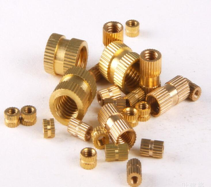 100pcs M3 M4 M5 Copper Inserts Brass Double Pass Knurl Nut Embedded Fastener