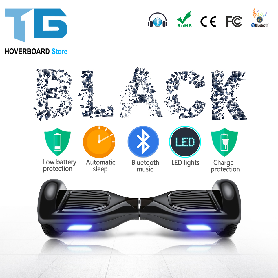 Black 6.5 Inch Smart Balance Wheel Electric Scooter Hoverboard Skateboard Standing Skate Hover Board Stock In USA Warehouse tax free hoverboard samsung battery smart self balancing electric scooter balance skateboard standing drift hoverboard