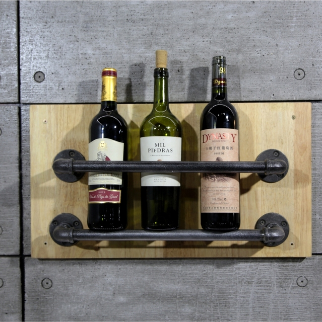 Decorative Wine Bottle Holder Simple 1Set Industrial Pipe Wine Racks Metal Decorative Wine Holder Wall 2018