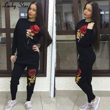 LUCKY STAR Sequins Rose Women Cotton Tracksuit 2PC font b Set b font Top Brand Clothing