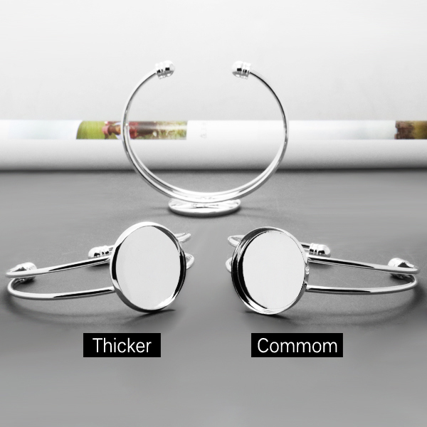 2pcs with Inne25mm Wholesale Silver Plated Cuff Bangle&Bracelet Bezel Blank r Setting Tray for Glass Cabochon