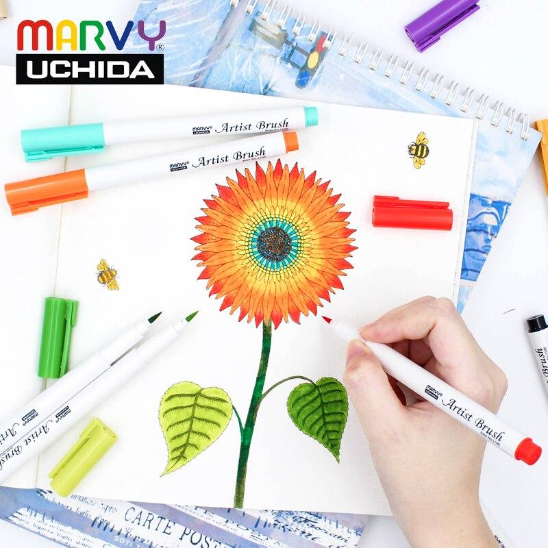 Marvy 1100 Brush Markers Watercolor PaintBrush Pen 5pcs/18pcs/36pcs Set Brush Pens  Soft Head  Drawing Pen For Art Supplies