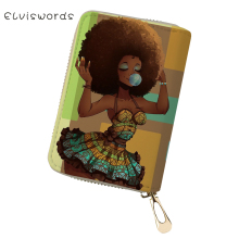 ELVISWORDS PU Business Card Holder African Girls Printing Pattern Money Purses Bags Women Fashion Lady Cluth Wallets