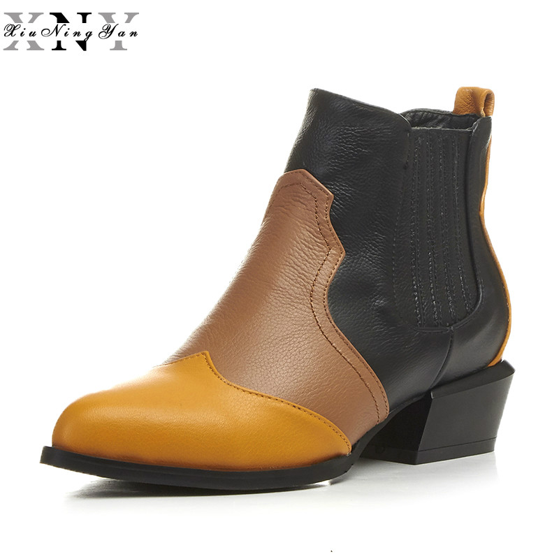 XiuNingYan 2018 NEW Large Size Women Shoes Pointed Toe Flat Heel Ankle Martin Boots Genuine Leather Flats Women's Winter Boots 2016 leather shoes female autumn winter new flat heel round toe ankle boots tide martin boots women flat bottomed tassel boots