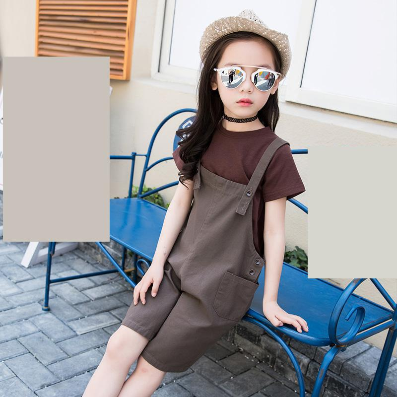 2018 New Children Clothes Set For Girls Toddler Girl Clothing Set Fashion School Suits T-shirts + Jumpsuits Overalls 10 12 Year retail 2017 new kids girls clothing set cartoon t shirt dress cotton baby girls suits set fashion children girl clothes
