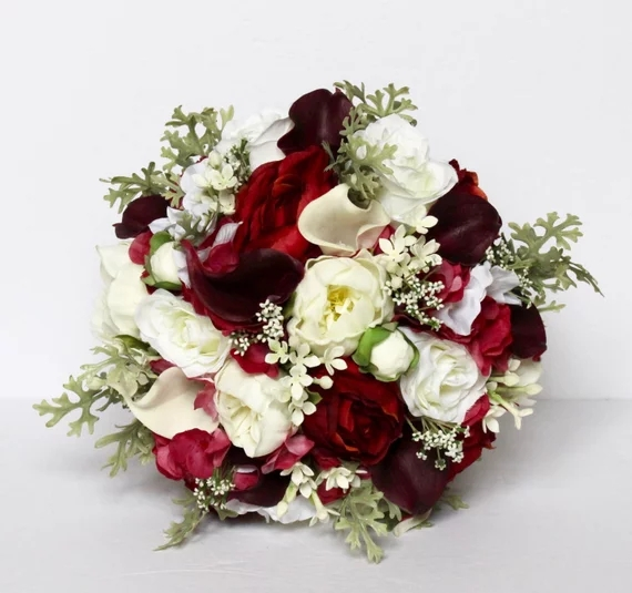 Red Wedding Bouquet , Rustic Wedding Bouquet, Silk Wedding Flowers, Real to Touch Peonies Bridal Bouquet