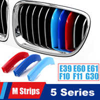 For BMW 5 series E39 E60 E61 F10 F11 G30 G31 G38 F07 Grille Motorsport Stripes Grill M Power Performance Strips Cover Stickers