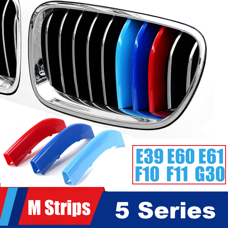 For <font><b>BMW</b></font> <font><b>5</b></font> series E39 E60 E61 <font><b>F10</b></font> F11 G30 G31 G38 F07 Grille Motorsport Stripes Grill M Power Performance Strips Cover Stickers image