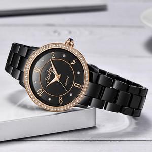 Image 4 - SunKta Luxus Rose Gold Schwarz Keramik Wasserdichte Uhren Frau Klassische Serie Damen Uhr Top Qualität Damen Strass Uhr