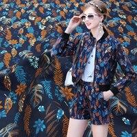 160cm Wide Fashion Jacquard Fabrics Vintage Wheat Leafs Printed Jacquard Cloth Windbreaker Jacket Clothing Fabric Drape