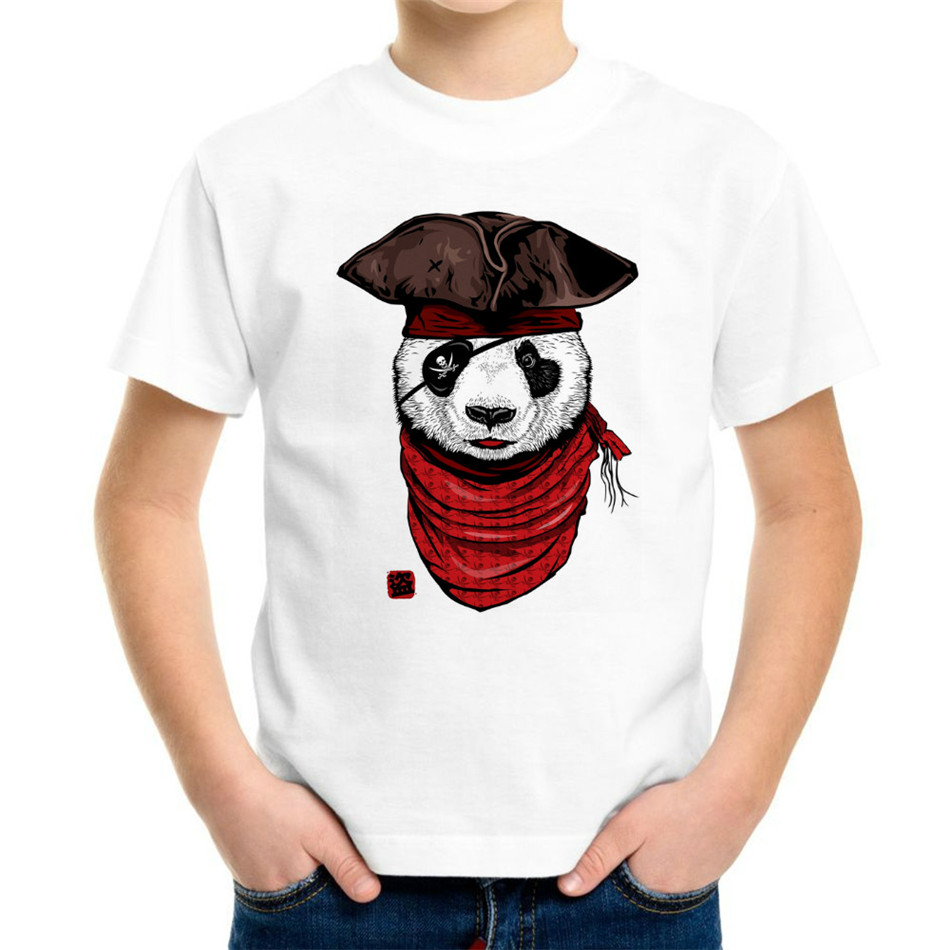 Joyonly 2018 New Style Boys Girls 3d T-shirt Happy Pirate Panda Lovely Animal Printed T Shirt Kids Baby Summer Cool Tops 4-20y Goods Of Every Description Are Available Night Lights