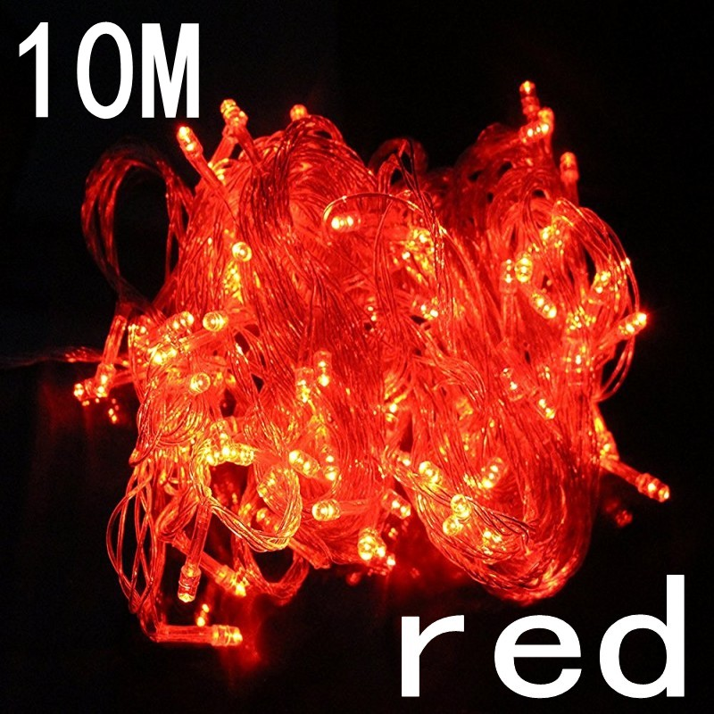 Red 10M LED String Fairy Light Holiday Patio Christmas Wedding Decoration AC220V Waterproof Outdoor Light Garland