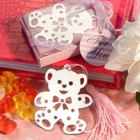 (DHL,UPS,Fedex)FREE SHIPPING+50pcs/Lot+Baby Shower Favors Teddy Bear Design Bookmark In Pink Gift Box Metal Bookmarks Favor