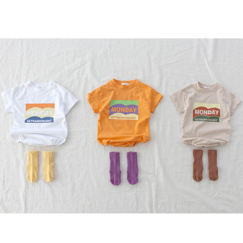 MILANCEL New Summer Brief Baby Bodysuits Short Sleeve Casual Baby Clothing Monday Print Infant Boys Jumpsuits