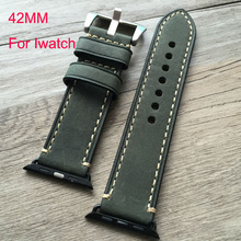 42mm leather watch strap Watchband For iwatch apple watch smart watch with accessories connector