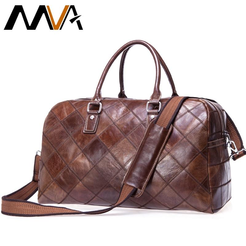 MVA Men Travel Bags Genuine Leather Suitcases Traveling Bags Messenger men's Shoulder Bag for travel Duffle Bag big Luggage все цены