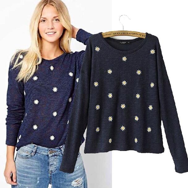 Европейский уличный стиль вышивка ромашка цветы тонкие свитер для женщины новых осенью 2014 мода цветочные вязать пуловеры