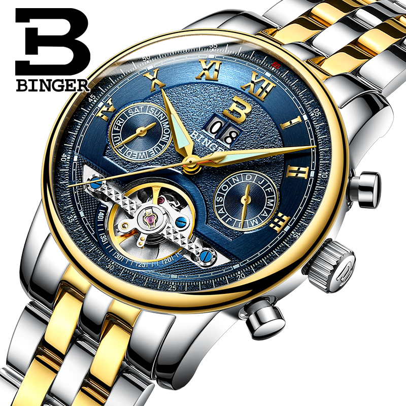 Luxury Brand Tourbillon Switzerland BINGER Mens Watch Multi-functions Waterproof Clock Mechanical Male Wristwatches B-8603M-11Luxury Brand Tourbillon Switzerland BINGER Mens Watch Multi-functions Waterproof Clock Mechanical Male Wristwatches B-8603M-11