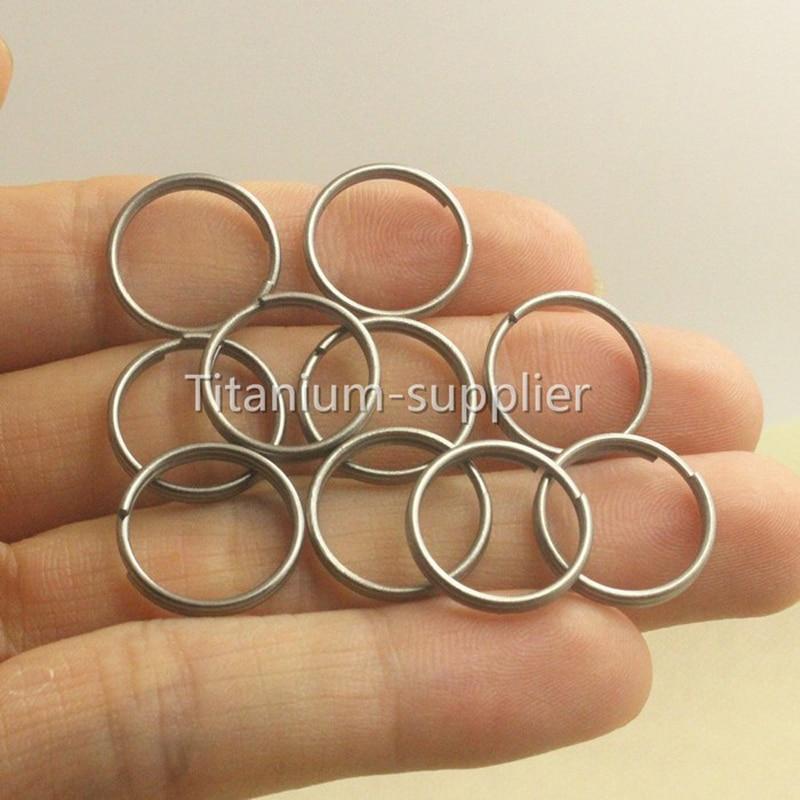 10PCS 0 55 14mm Micro Titanium Ti TA2 Split KeyRing font b Keychain b font EDC