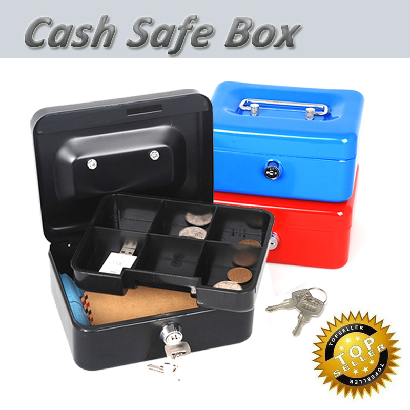 Mini Portable Steel Petty lock Cash Safe Box for home school office or market with 7 Compartment Tray Lockable Coin Security box giantree portable money box 6 compartments coin steel petty cash security locking safe box password strong metal for home school