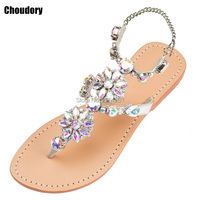 2017 Casual Shoes Woman Gladiator Sandals Women Rhinestones Chains Flat Sandals Plus Size Flat Sandals Crystal