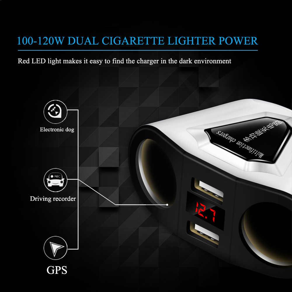 Powstro 5V 3.1A Car Charger 2 USB Port 2 Way for Car Cigarette Lighter Socket Splitter Charger DC 12~24V Cigarette Lighter Socke