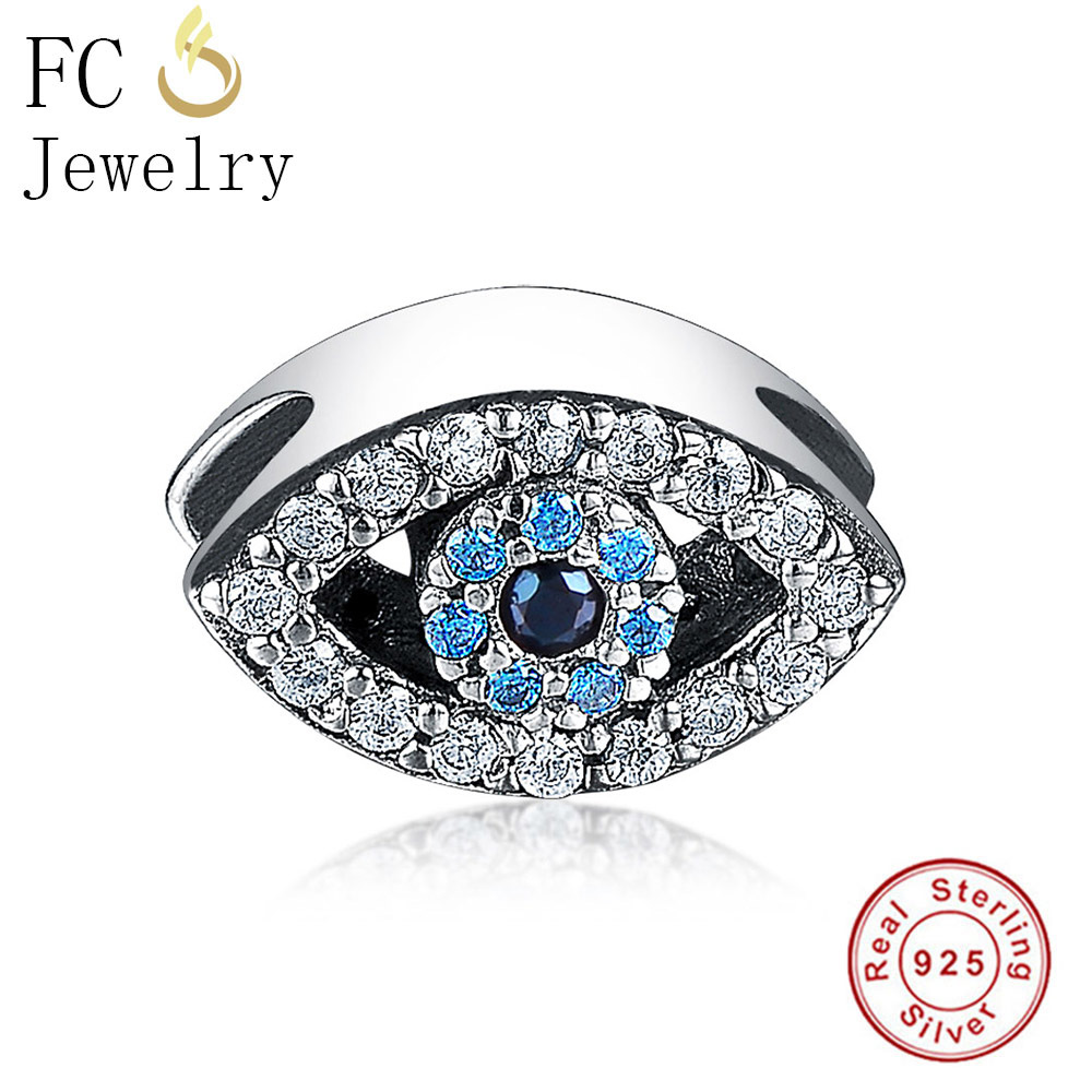 Blue Evil Eye Charm Bead CZ Real 925 Silver Jewelry Making Fit Original Pandora Charms Bracelet European Berloque Lucky New Gift jewelry making