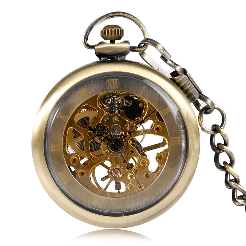 Vintage Unique Bronze Mechanical Hand Wind Pocket Watch Skeleton Roman Numbers Open Face Transparent Fob Time Unisex Top Gift automatic mechanical pocket watches vintage transparent skeleton open face design fob watch pocket chain male reloj de bolso