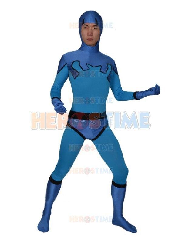 Blue Beetle Ted Kord Version Spandex Superhero Costume fullbody - Kostumet