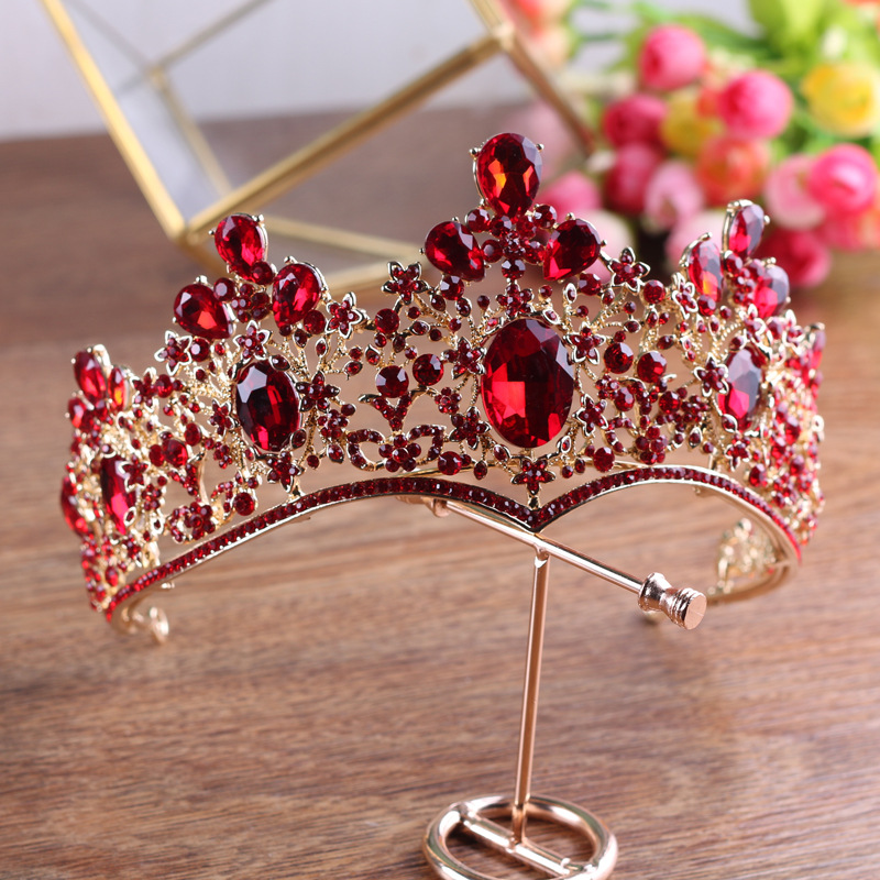 Baroque Vintage Gold Red Green Crystal Crown Wedding Tiara Rhinestone Pageant Prom Crowns Bride Headbands Women Hair Accessories 03 red gold bride wedding hair tiaras ancient chinese empress hat bride hair piece