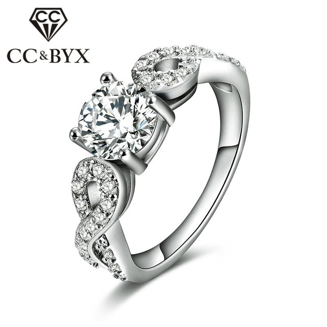 Hot Sale White Gold Color Wedding Party Rings for Women Brilliant Shine Stone Engagement Fashion Jewelry Bijoux Anel Best Gifts