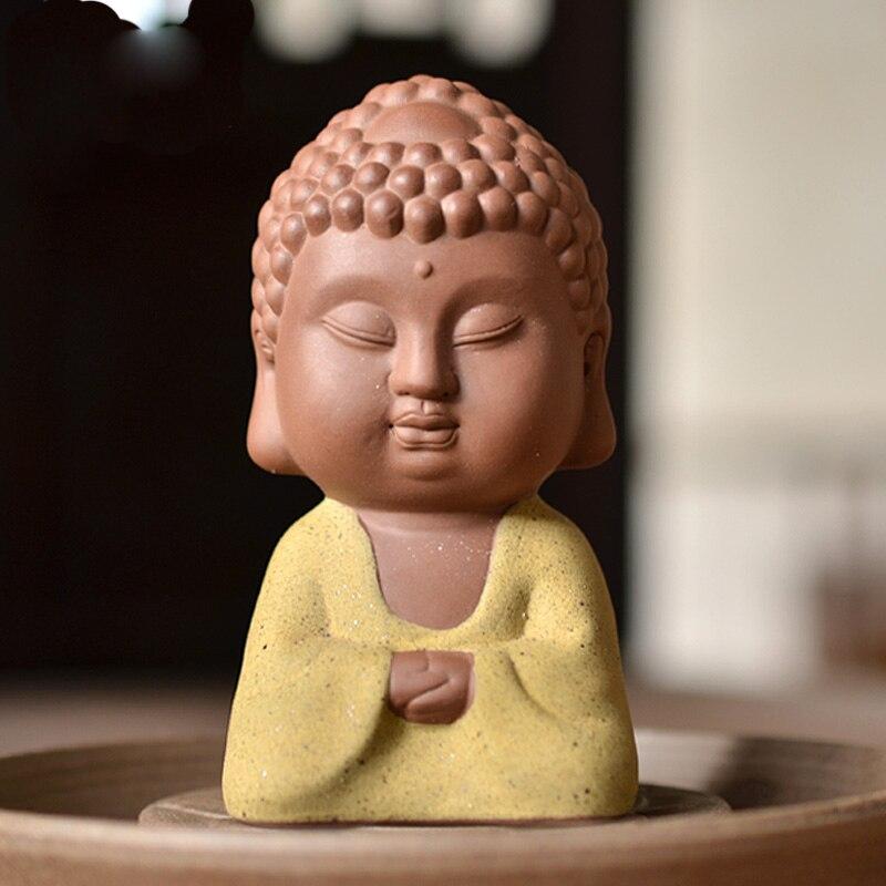 Petite Statue de bouddha moine Double Face Tathagata inde Yoga Mandala décorations en céramique maison Table décor cadeaux