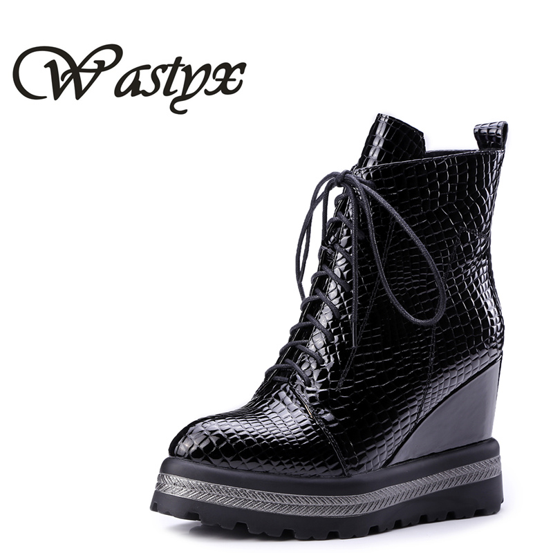 Wastyx new women wedge boots 2017 New Fashion patent leather short boots lace-up woman Ankle Boots Casual Women platform Shoes women boots mixed colors wedge concealed heel high top platform ankle boots lace up woman casual shoes ankle boot size 35 39 s44