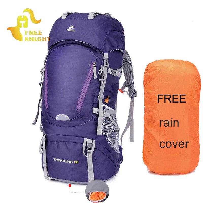60L Sports de plein air sac à dos Camping sacs escalade sac à dos hommes femmes randonnée Trekking sac de voyage Mochila avec couverture de pluie XA29WA