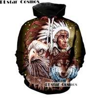 PLstar Cosmos 2017 New Wolf Eagle Pattern Unisex Fashion Jumper 3D Printing Hoodies Sweatshirts Men Women