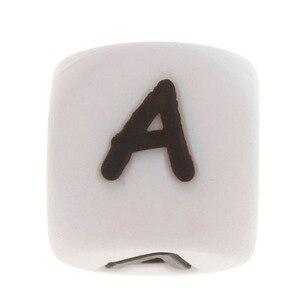 Image 3 - 100 pçs inglês alfabeto letra 12mm silicone cubo mordedor grânulos bpa livre grau alimentício bebê dentição jóias ensino brinquedo de enfermagem